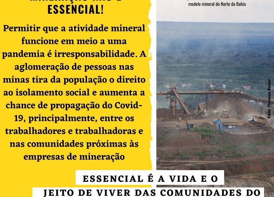 Carta-denúncia Mineração e pandemia: essencial é a vida!